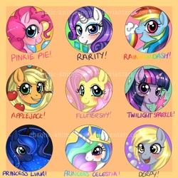Size: 800x800 | Tagged: safe, artist:chao-illustrations, applejack, derpy hooves, fluttershy, pinkie pie, princess celestia, princess luna, rainbow dash, rarity, twilight sparkle, pony, apple, balloon, bust, cutie mark, female, food, looking at you, mane six, mare, portrait, profile, royal sisters, smiling