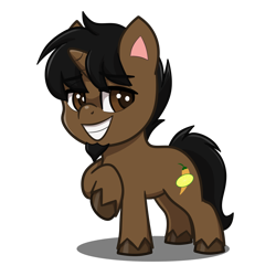 Size: 4093x4093   Tagged: safe, artist:jcosneverexisted, oc, oc only, oc:marrón, pony, unicorn, my little pony: pony life, beard, facial hair, goatee, looking at you, male, smiling, solo, stallion, unshorn fetlocks