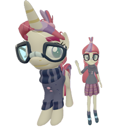 Size: 707x720 | Tagged: safe, artist:topsangtheman, moondancer, pony, unicorn, equestria girls, 3d, glasses, looking at you, self ponidox, simple background, source filmmaker, transparent background