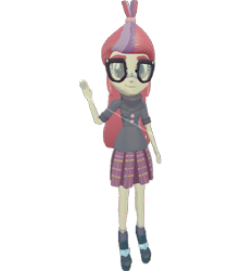 Size: 637x720 | Tagged: safe, artist:topsangtheman, moondancer, equestria girls, 3d, glasses, looking at you, simple background, solo, source filmmaker, transparent background, waving