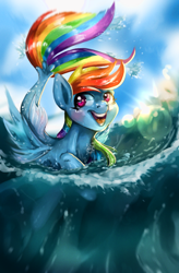 Size: 1210x1849 | Tagged: safe, artist:rottengotika, rainbow dash, pegasus, seapony (g4), female, open mouth, seaponified, seapony rainbow dash, smiling, solo, species swap, water