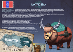 Size: 1920x1381 | Tagged: safe, artist:mrscroup, oc, oc only, yak, equestria at war mod, bridle, cloven hooves, gradient background, gun, hat, hearts of iron 4, map, reins, rifle, soldier, solo, tack, weapon, yak oc, yakyakistan