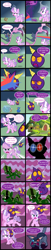 Size: 1920x9453 | Tagged: safe, artist:magerblutooth, diamond tiara, filthy rich, fluttershy, oc, oc:aunt spoiled, oc:dazzle, oc:handy dandy, oc:il, oc:negative, bird, cat, earth pony, fish, flamingo, imp, mouse, pony, squirrel, comic:diamond and dazzle, comic, fish bowl, fluttershy's cottage, mousified, silhouette, species swap, transformation