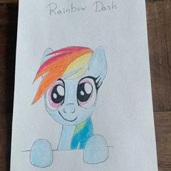 Size: 994x994 | Tagged: safe, alternate version, artist:_liz_art_, rainbow dash, pegasus, pony, bust, eyelashes, female, irl, mare, photo, smiling, solo, text, traditional art