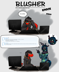 Size: 1052x1291   Tagged: safe, artist:tea-redrex, queen chrysalis, oc, anthro, changeling, changeling queen, dinosaur, ask, bust, clothes, comic, computer, dialogue, female, male, sweater