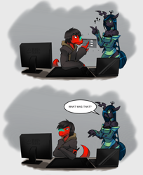 Size: 1052x1291   Tagged: safe, artist:tea-redrex, queen chrysalis, oc, anthro, changeling, changeling queen, dinosaur, ask, bust, clothes, comic, computer, female, male, sweater, talking
