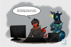 Size: 1052x704   Tagged: safe, artist:tea-redrex, queen chrysalis, oc, anthro, changeling, changeling queen, dinosaur, ask, bust, clothes, comic, computer, female, male, sweater, talking