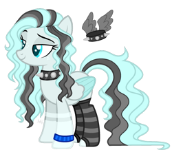 Size: 825x730 | Tagged: safe, artist:mintoria, oc, oc:dark decent, pegasus, pony, choker, clothes, female, mare, simple background, socks, solo, spiked choker, striped socks, transparent background