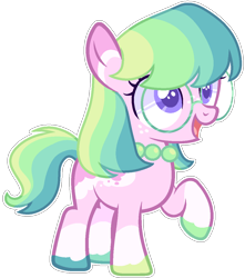 Size: 1020x1152 | Tagged: safe, artist:kurosawakuro, oc, earth pony, pony, female, filly, glasses, magical lesbian spawn, offspring, parent:silver spoon, parent:toola roola, simple background, solo, transparent background