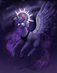 Size: 1246x1596 | Tagged: safe, artist:cobaltthecat, princess luna, epic, glowing eyes, halo, solo