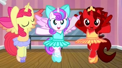 Size: 1920x1080 | Tagged: safe, artist:angrymetal, apple bloom, princess flurry heart, oc, oc:princess ruby, alicorn, alicorn apple bloom, alicorn oc, alicornified, ballet, ballet dancing, ballet slippers, bipedal, bloomerina, bloomicorn, clothes, dancing ballet, en pointe, eyes closed, flurryrina, holding hooves, horn, looking at you, older, older flurry heart, race swap, raised hoof, tutu, tutus, wings