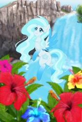 Size: 1280x1893 | Tagged: safe, artist:erim-kawamori, oc, oc:blue flower, pegasus, pony, female, mare, solo, two toned wings, waterfall, wings