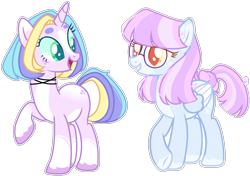 Size: 2212x1557 | Tagged: safe, artist:kurosawakuro, oc, oc only, pegasus, pony, unicorn, base used, colored pupils, female, half-siblings, magical lesbian spawn, mare, offspring, parent:coconut cream, parent:diamond tiara, parent:wind sprint, simple background, transparent background