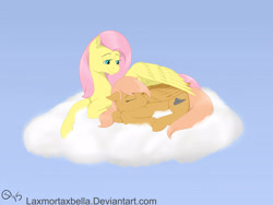 Size: 2828x2121 | Tagged: safe, artist:sydfreak2, fluttershy, oc, oc:darcy apple, pegasus, pony, cloud, duo, female, filly, lying on a cloud, mare, mother and child, mother and daughter, offspring, on a cloud, parent:big macintosh, parent:fluttershy, parents:fluttermac, sleeping, wing blanket