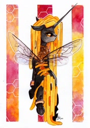 Size: 1024x1450 | Tagged: safe, artist:lailyren, oc, oc only, oc:coucabeille, bee, beeling, bug pony, changeling, changeling queen, insect, changeling oc, changeling queen oc, commission, fanfic art, female, mare, queen bee, solo, traditional art, watercolor painting, writer:malvagio, yellow changeling