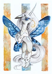 Size: 1024x1444 | Tagged: safe, artist:lailyren, oc, oc only, oc:farfalla, butterfly, changeling, changeling queen, insect, albino, albino changeling, butterfly wings, changeling oc, changeling queen oc, commission, fanfic art, female, mare, solo, traditional art, watercolor painting, white changeling, wings, writer:malvagio