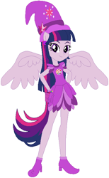 Size: 398x645 | Tagged: safe, artist:selenaede, artist:user15432, twilight sparkle, alicorn, human, equestria girls, barely eqg related, base used, boots, clothes, cosplay, costume, crossover, cutie mark, ear piercing, earring, element of magic, gloves, hands on hip, hat, jewelry, magical doremi, ojamajo doremi, piercing, ponied up, shoes, twilight sparkle (alicorn), wings, witch, witch apprentice, witch costume, witch hat