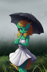 Size: 2645x4000 | Tagged: safe, artist:redwix, artist:sugarstar, oc, oc only, oc:professor sugarcube, anthro, earth pony, pony, clothes, collaboration, collar, dress, female, fog, forest, grass, looking at you, mare, one eye closed, rain, rcf community, smiling, solo, standing, umbrella