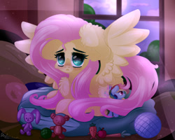 Size: 2000x1600 | Tagged: safe, artist:kindny-chan, fluttershy, rainbow dash, pegasus, pony, blushing, chest fluff, crepuscular rays, cute, ear fluff, female, floppy ears, indoors, looking at you, mare, night, open mouth, plushie, prone, rainbow dash plushie, shyabetes, sofa bed, solo, spread wings, stray strand, three quarter view, toy, window, wings, yarn, yarn ball