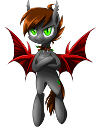 Size: 1280x1640 | Tagged: safe, artist:ce2438, oc, oc only, oc:darkforest, bat pony, brown mane, dark, female, forest, gray coat, green eyes, mare, red wings, serious, simple background, solo, transparent background, tree, wild