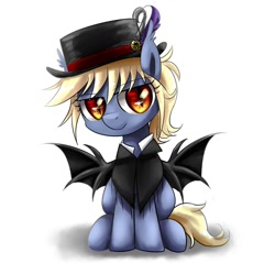 Size: 1280x1226 | Tagged: safe, artist:ce2438, oc, oc:vesper flare, bat pony, blonde mane, blue coat, cape, clothes, female, filly, hat, red eyes, simple background, smiley face, smiling, smirk, solo, top hat, white background