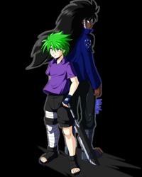 Size: 800x1000 | Tagged: safe, artist:danmakuman, spike, oc, human, anime, anime style, humanized, naruto, ninja, simple background, teacher and student, transparent background