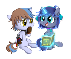 Size: 715x594 | Tagged: safe, artist:ce2438, oc, oc:moonlight toccata, oc:northern mist, earth pony, unicorn, blue coat, book, bronze eyes, brown mane, colt, cute, cyan eyes, female, filly, male, nordic, pillar, purple mane