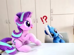 Size: 1024x768 | Tagged: safe, artist:nekokevin, starlight glimmer, trixie, pony, unicorn, series:nekokevin's glimmy, duo, exclamation point, female, happy, interrobang, irl, looking at something, mare, open mouth, photo, plushie, question mark, raised hoof, sitting, smiling, underhoof