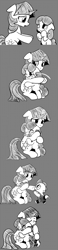 Size: 896x3868 | Tagged: safe, artist:mamatwilightsparkle, spike, twilight sparkle, oc, oc:lilian, dragon, pony, unicorn, baby, baby spike, bipedal, blind in one eye, clothes, comic, crying, group hug, hug, mama twilight, mama twilight sparkle, monochrome, overalls, teary eyes, tumblr, younger
