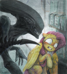 Size: 1815x1983 | Tagged: safe, artist:jewellier, fluttershy, alien, pegasus, pony, xenomorph, alien (franchise), covering, duo, female, floppy ears, gritted teeth, looking away, looking sideways, mare, movie scene, nervous, nervous sweat, raised hoof, scared, sitting, sweat, traditional art, wide eyes, wing covering