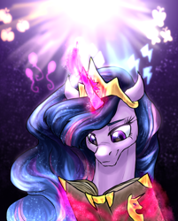 Size: 964x1200   Tagged: safe, artist:not-ordinary-pony, twilight sparkle, alicorn, pony, the last problem, book, crown, female, glowing horn, horn, immortality blues, jewelry, magic, mare, older, older twilight, princess twilight 2.0, reading, regalia, smiling, solo, telekinesis, twilight sparkle (alicorn)