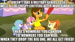 Size: 1920x1080 | Tagged: safe, edit, edited screencap, screencap, cheese sandwich, earth pony, pony, unicorn, caption, clothes, female, filly, happy birthday, image macro, male, skirt, song reference, stallion, text, weird al yankovic, world war iii