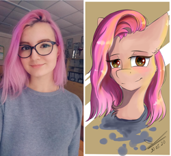 Size: 2045x1857   Tagged: safe, artist:yuris, oc, human, pony, glasses, irl, irl human, looking at you, not pinkamena, photo, ponified, solo