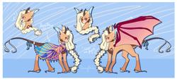 Size: 3966x1828 | Tagged: safe, artist:honeybbear, oc, bat pony, pony, female, horns, mare, solo