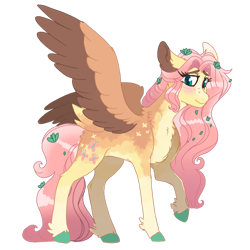 Size: 1280x1280 | Tagged: safe, artist:scarletskitty12, fluttershy, pegasus, pony, blushing, chest fluff, colored hooves, ear fluff, female, leaves in hair, looking at you, mare, neck fluff, raised hoof, simple background, smiling, solo, spread wings, standing, three quarter view, transparent background, two toned wings, unshorn fetlocks, wings