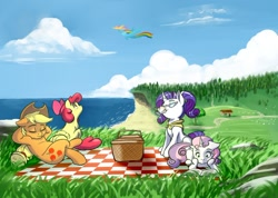 Size: 1280x909 | Tagged: safe, artist:gloomydinosaur, apple bloom, applejack, rainbow dash, rarity, scootaloo, sweetie belle, earth pony, pegasus, pony, unicorn, basket, book, cloud, cutie mark crusaders, drink, female, filly, flying, freckles, glasses, ocean, picnic, picnic basket, picnic blanket, reading, relaxing, scenery, scootaloo can fly, siblings, sisters, sky, summer, tree, water