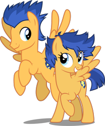 Size: 2241x2690 | Tagged: safe, artist:cloudyglow, artist:whalepornoz, edit, editor:slayerbvc, vector edit, flash sentry, pegasus, duality, female, flare warden, flying, grin, looking down, looking up, male, mare, r63 paradox, rule 63, self ponidox, simple background, smiling, stallion, transparent background, vector