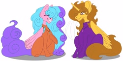 Size: 5032x2500 | Tagged: safe, artist:grimmjawls, oc, oc:aspen, oc:bella pinksavage, alicorn, pony, alicorn oc, bodysuit, catsuit, duo, duo female, female, friendship, hanging out, hippie, horn, jewelry, latex, latex suit, laughing, necklace, peace suit, peace symbol, rubber suit, siblings, sisterly love, sisters, smiling, wings