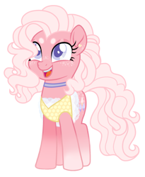 Size: 1289x1572 | Tagged: safe, artist:unoriginai, pinkie pie, pony, alternate design, choker, clothes, cotton candy, cute, diapinkes, dress, ear piercing, earring, eyebrows, jewelry, lace, outfit, piercing, redesign