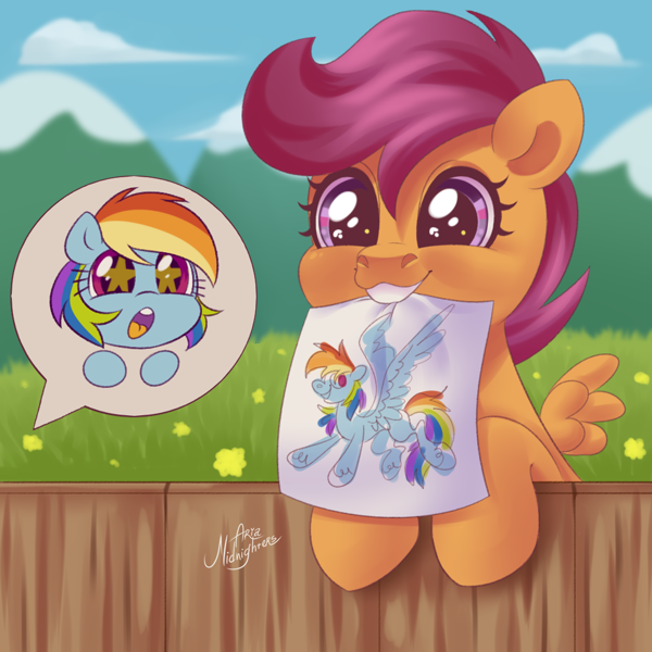 2361900 Safe Artist Ariamidnighters Rainbow Dash Scootaloo Pegasus Pony Cute Cutealoo Dashabetes Drawing Fangirling Female Filly Happy Mare Missing Cutie Mark Mouth Hold Offscreen Character Open Mouth Paper Scootalove Speech Unfortunately, there were only 27 instances of scootaloo across. safe artist ariamidnighters rainbow