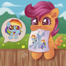 Size: 1000x1000 | Tagged: safe, artist:ariamidnighters, rainbow dash, scootaloo, pegasus, pony, cute, cutealoo, drawing, female, filly, happy, mare, mouth hold, offscreen character, open mouth, paper, scootalove, speech bubble, starry eyes, wingding eyes