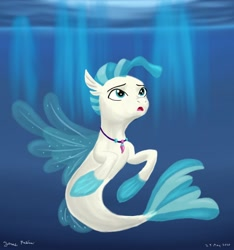 Size: 1280x1366 | Tagged: safe, artist:rockhoppr3, terramar, seapony (g4), crepuscular rays, cute, fin wings, fins, fish tail, jewelry, looking up, male, necklace, open mouth, signature, solo, sunlight, swimming, terrabetes, underwater, water, wings