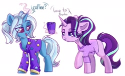 Size: 1280x783 | Tagged: safe, artist:cloud-fly, starlight glimmer, trixie, pony, unicorn, alternate hairstyle, babysitter trixie, clothes, coffee, coffee mug, colored pupils, dialogue, duo, female, hoodie, magic, mare, mug, pajamas, see-through, shirt, simple background, telekinesis, white background