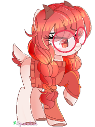 Size: 285x380 | Tagged: safe, artist:2pandita, oc, oc only, earth pony, pony, clothes, eye clipping through hair, female, glasses, horns, mare, pixel art, raised hoof, simple background, solo, sweater, white background