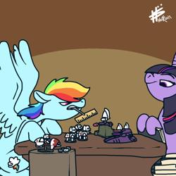 Size: 540x540 | Tagged: safe, artist:pencilbrony, rainbow dash, twilight sparkle, eldar, pegasus, pony, duo, gaming, tabletop game