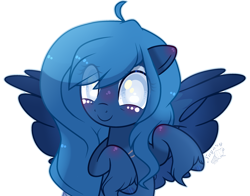Size: 2705x2121 | Tagged: safe, artist:makotomt, artist:sugaryicecreammlp, oc, oc only, oc:lorelei, oc:lorelei snowflake, pegasus, pony, base used, eye clipping through hair, female, mare, not luna, simple background, solo, spread wings, transparent background, white pupils, wings