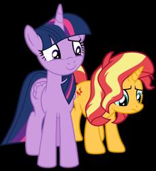 Size: 1024x1118 | Tagged: safe, artist:emeraldblast63, sunset shimmer, twilight sparkle, alicorn, pony, equestria girls, equestria girls series, forgotten friendship, simple background, transparent background, twilight sparkle (alicorn)