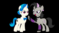 Size: 1280x720   Tagged: safe, artist:juggybuggy305, artist:thecheeseburger, dj pon-3, octavia melody, vinyl scratch, pony, alternate hairstyle, black background, clothes, dyed mane, ear piercing, earring, jewelry, neck bow, piercing, raised hoof, rocktavia, simple background, socks, vinyl class