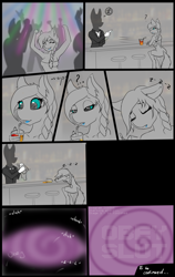 Size: 3240x5130 | Tagged: safe, artist:shamziwhite, oc, oc:ripy, anthro, unguligrade anthro, bar, bartender, brainwashing, dancing, drink, drinking, drinking straw, drugged, female, hypnosis, party, sleeping, spiral, text, to be continued