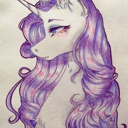 Size: 1080x1080 | Tagged: safe, artist:mayguay, rarity, pony, unicorn, bust, chest fluff, colored pencil drawing, ear fluff, female, makeup, mare, portrait, profile, simple background, solo, traditional art, white background